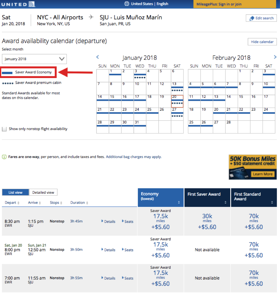 United Airlines Award Calendar