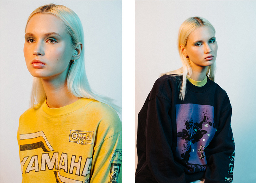 'soft touch' sweatshirt for High Snobiety editorial photographed by Colby Edwards styled by Caitlan Hickey