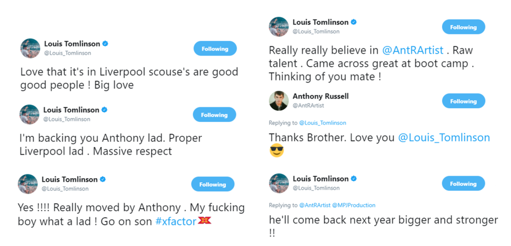 Twitter  Louis Tomlinson  and  Anthony Russell