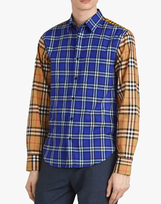Contrast Check Cotton Shirt  | Burberry | $550