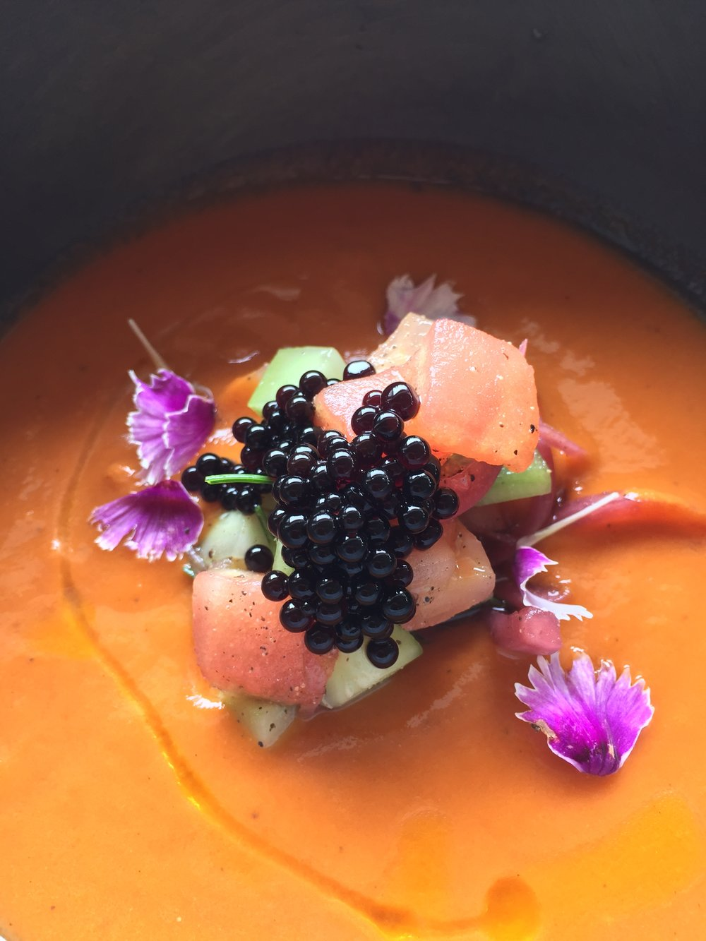 Amatara's incredible gazpacho soup decorated with balsamic vinegar balls - no deprivation here!