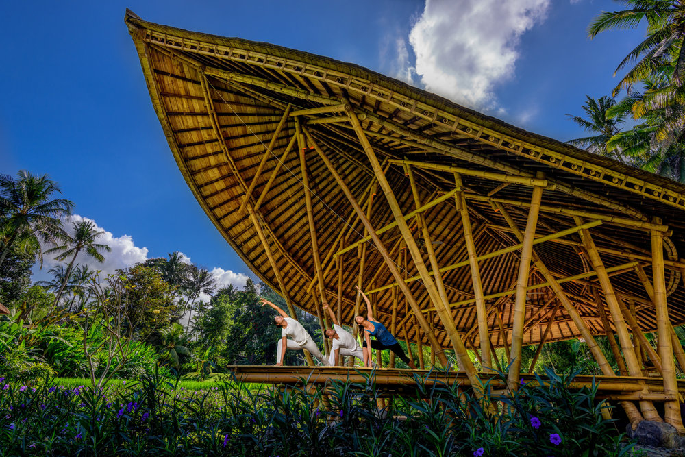 Four Seasons Resort Bali Sayan's phenomenal yoga bale made from sustainable local bamboo.