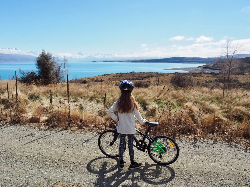 Ella on our first day of cycling the A2O. This is the beautiful Lake Pukaki and most of this section is off road.