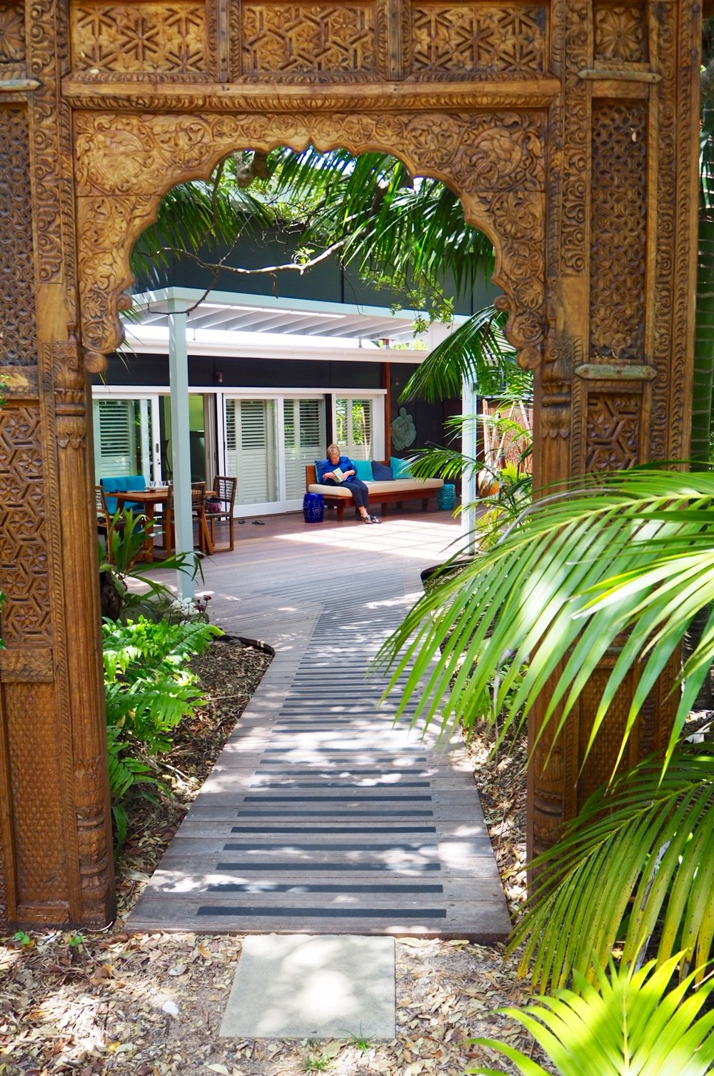 The entrance way to Blue Peter's Beach House; a quintessential Lord Howe Island building now with a new lease of life as a luxe private beach house.