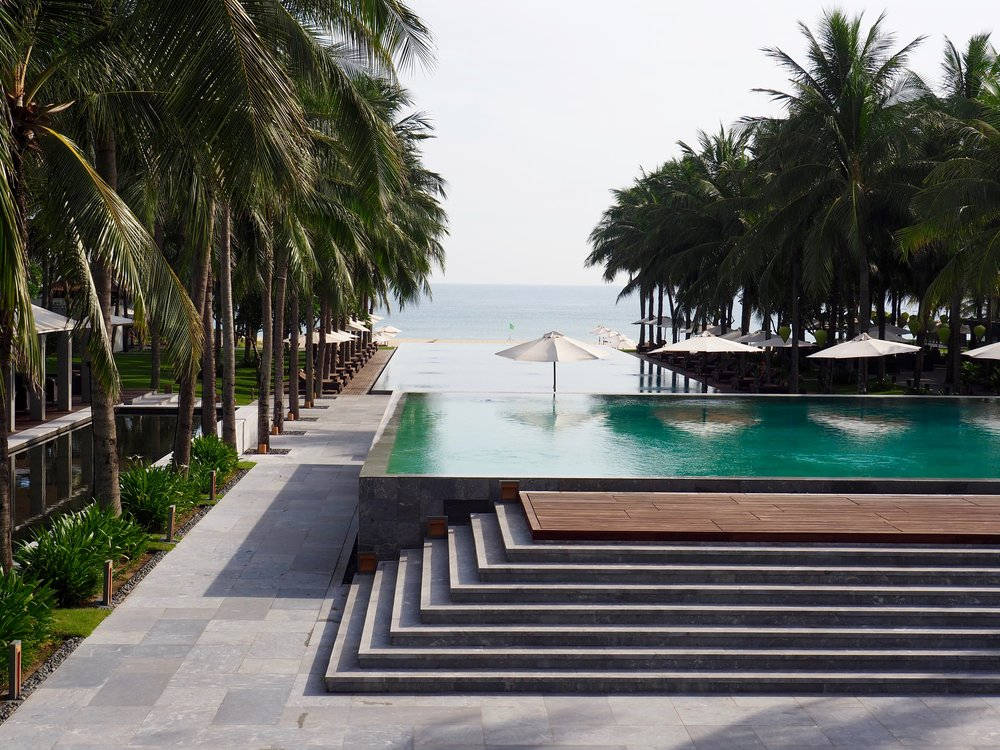 Tiered pools looking out to the sea beyond at the sublime Four Seasons Nam Hai, Hoi An Vietnam. Pics: Sheriden Rhodes
