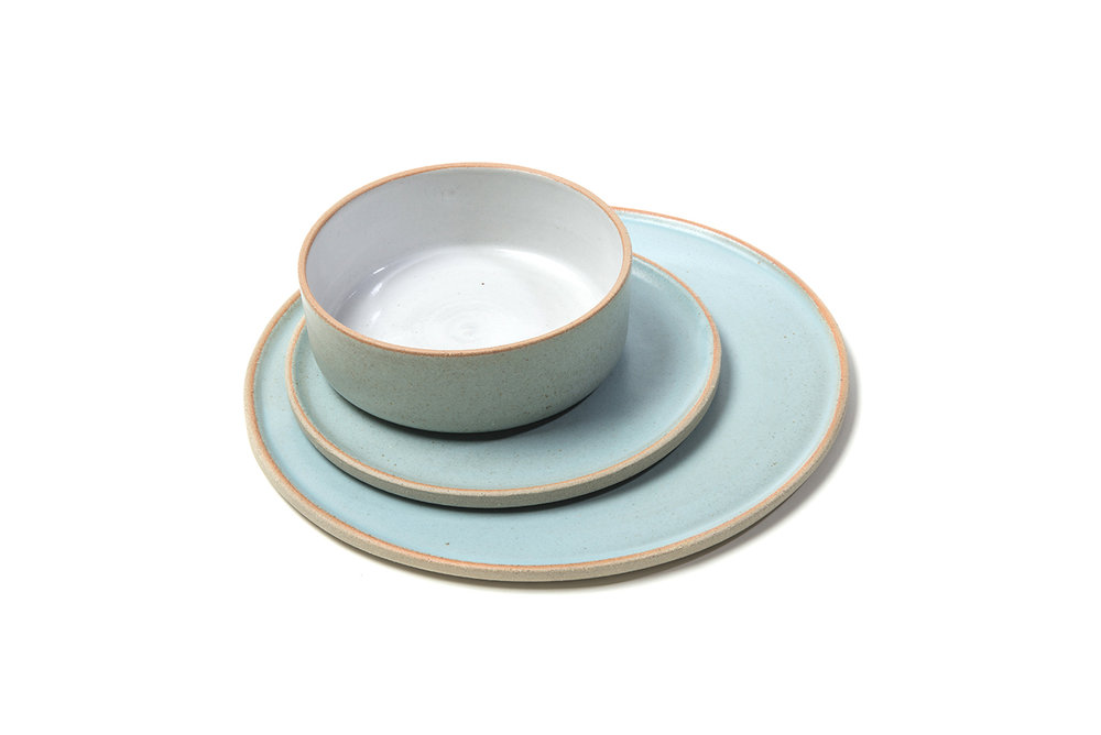 Luna plates in duck egg blue