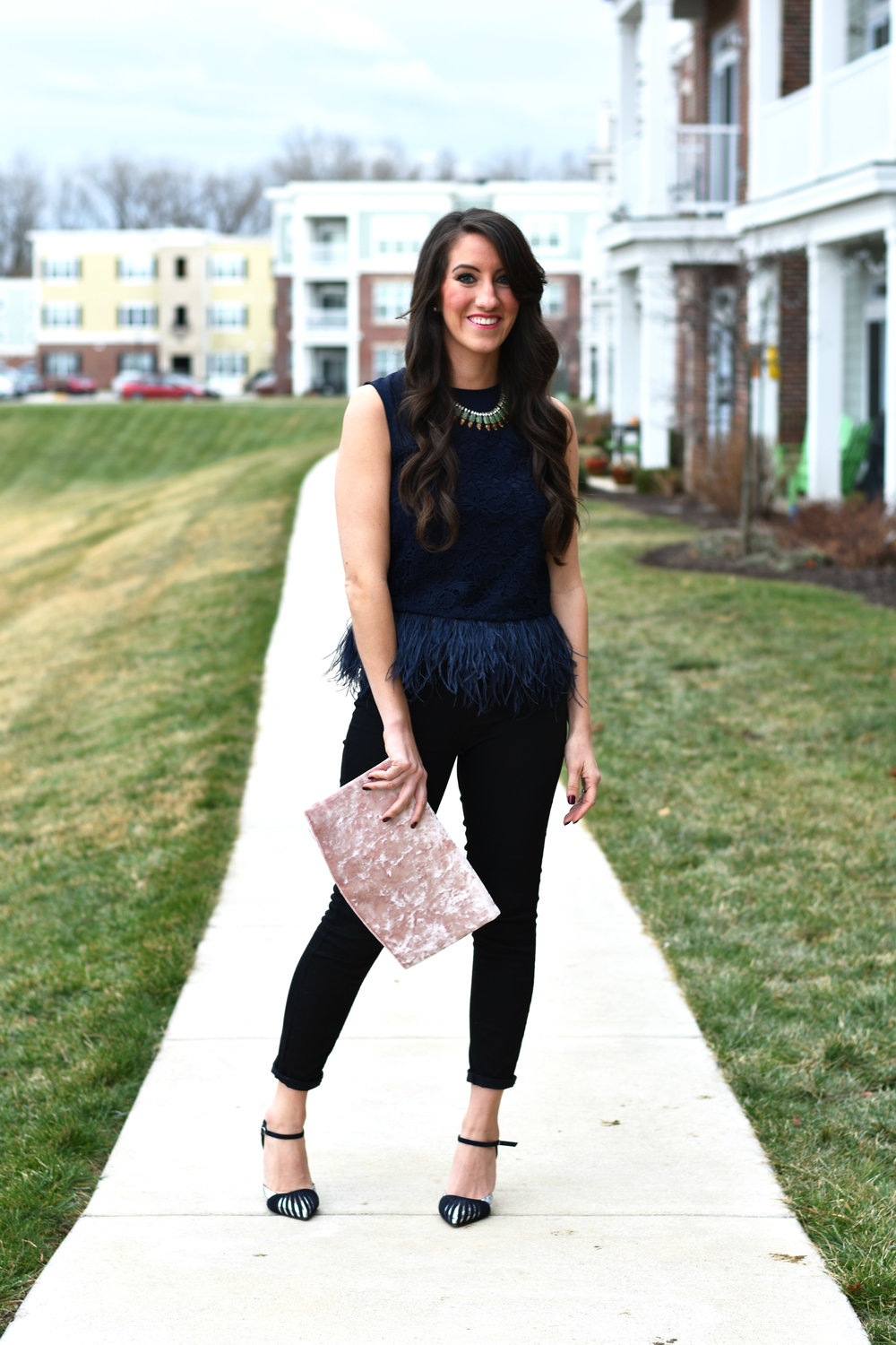 romantic blouse  +  feminine  //  black denim  //  statement necklace  //  clutch  //  heels