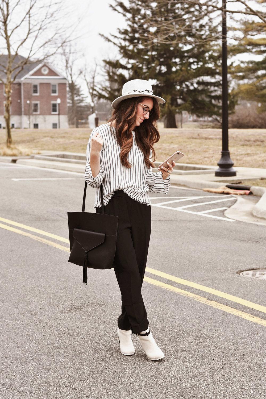 "Anthropologie  blouse ,  pants ,  hat ,  bag , ""vintage"" Anthropologie booties [ similar ,  love these for Spring ], Prada glasses [ similar ]"