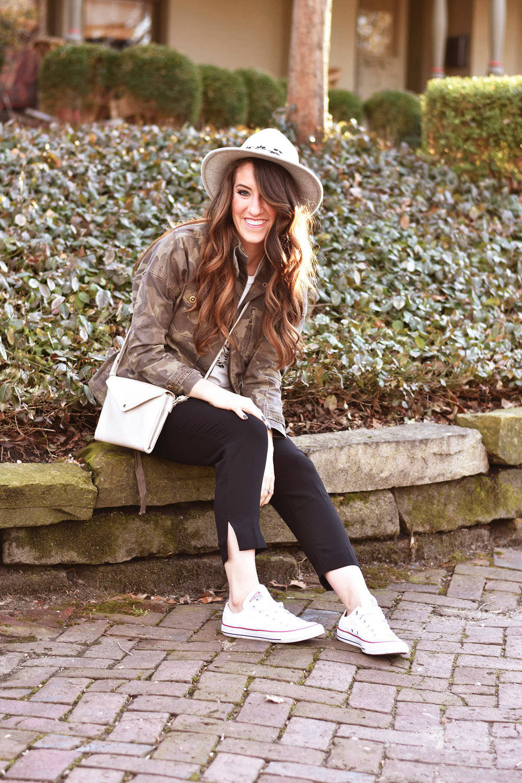 Anthropologie  jacket  //  tee  //  pants  //  hat  //  crossbody  //  Converse