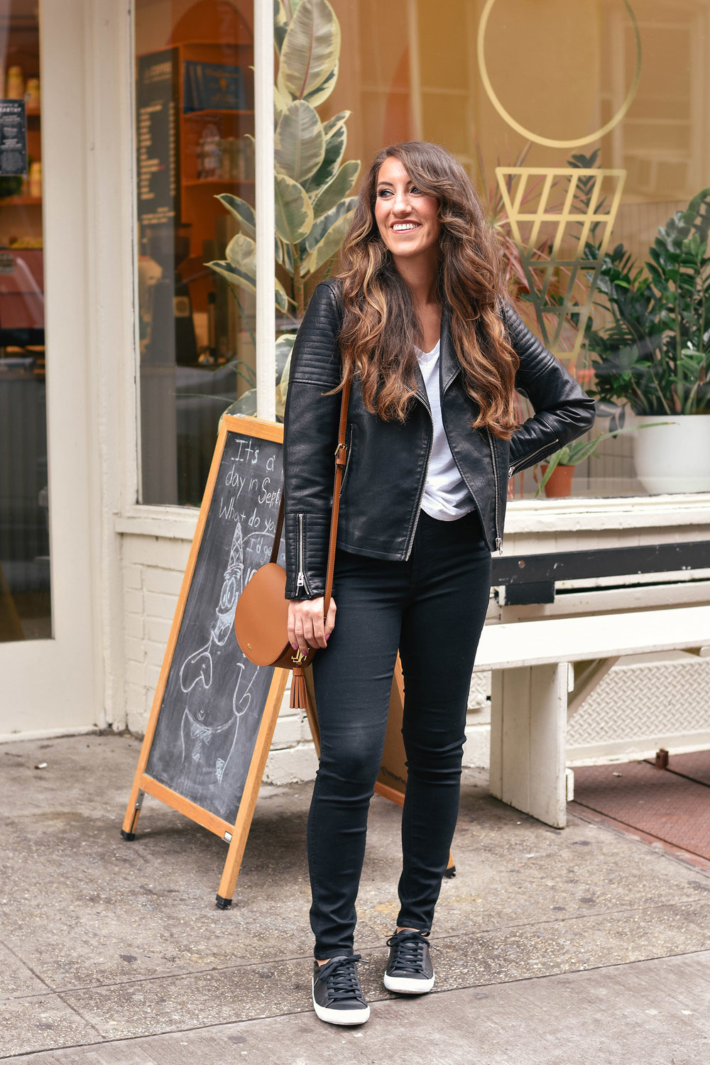 "TopShop vegan leather jacket  // Abercrombie & Fitch tee [ long sleeve thermal  /  Nordstrom similar ] //  Madewell jeans  //  ASOS shoes  // Ralph Lauren bag [ similar ] // Anthropologie earrings [ similar  / but  LOVE these for holiday ] //  Trish McEvoy lip color in ""Rosewood"""