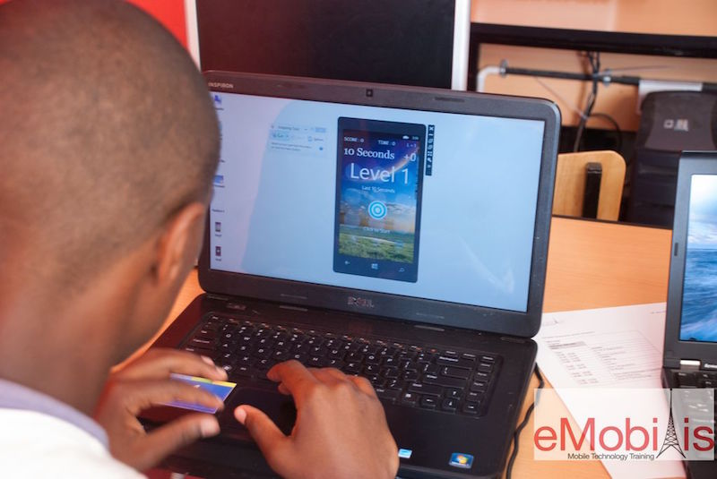 student learning mobile programming at emobilis mobie technology institute in Nairobi, Kenya