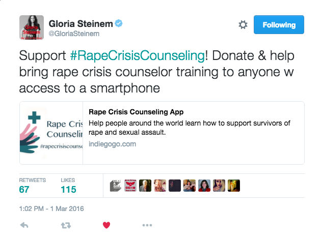 Rape Crisis Counseling App Social Media Update - Gloria Steinem posts about our project on Twitter (www.codeinnovation.com)
