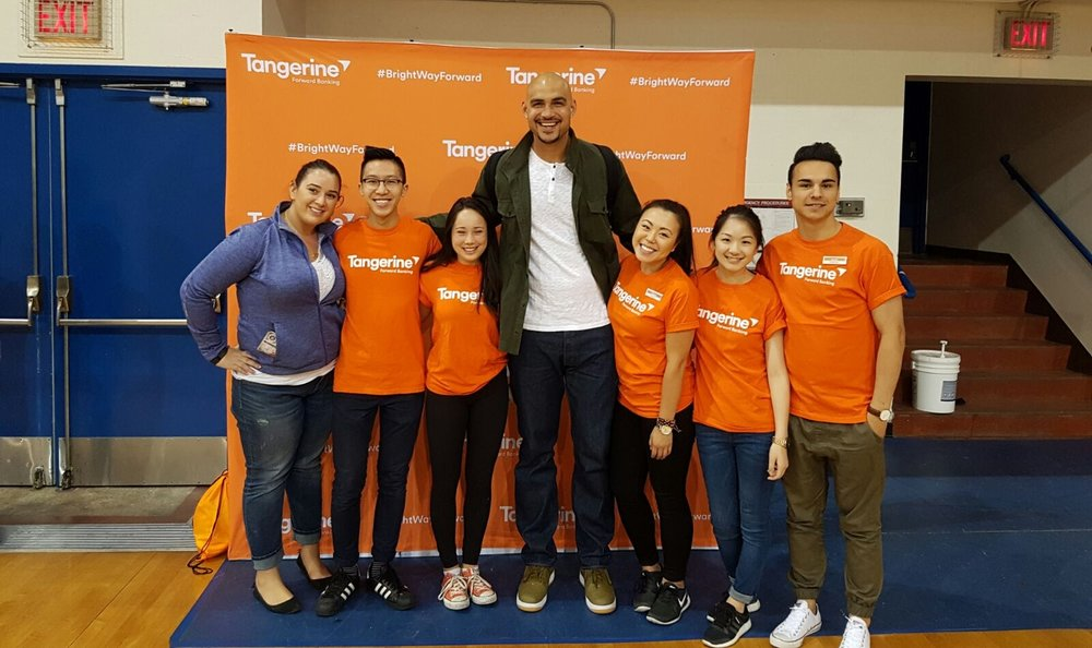 Me and the team at the Tangerine Community Gym event in UBC! The man towering above us is former Lakers player Rob Sacre.