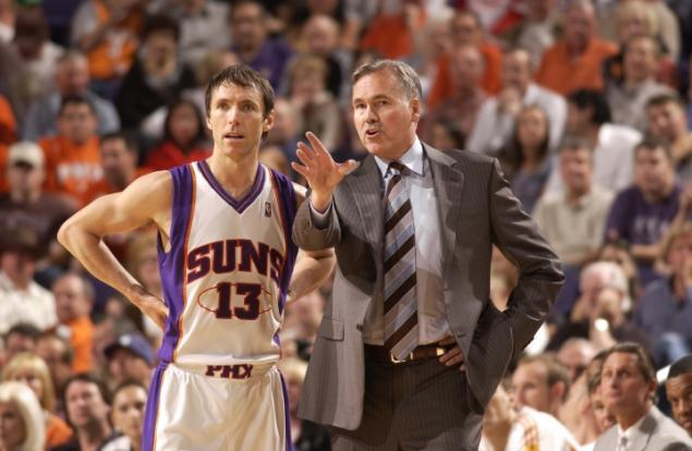 Steve Nash and Mike D'Antoni, circa mid-2000's. Mike might have found a new niche off the court in marketing.