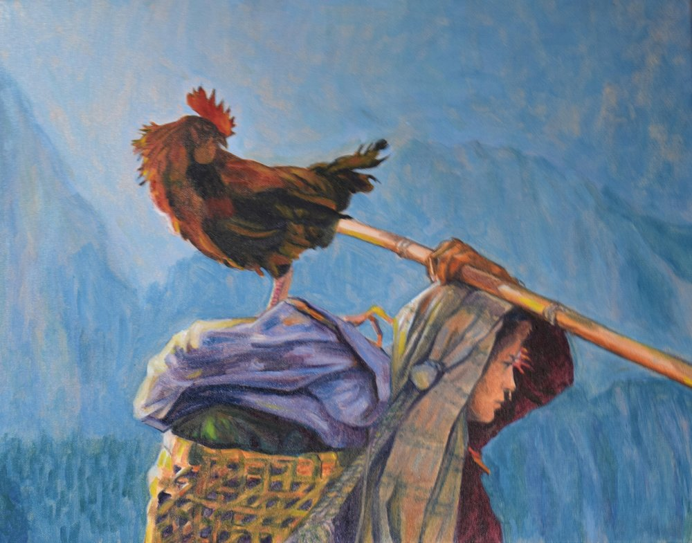 Himalayan Girl with Rooster