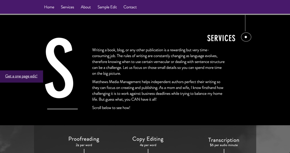Old Services Page (way too dark)