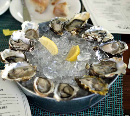 Oysters Naturalle, served with ice in the Summer