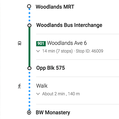 Take Bus 901 from Woodlands Bus Interchange