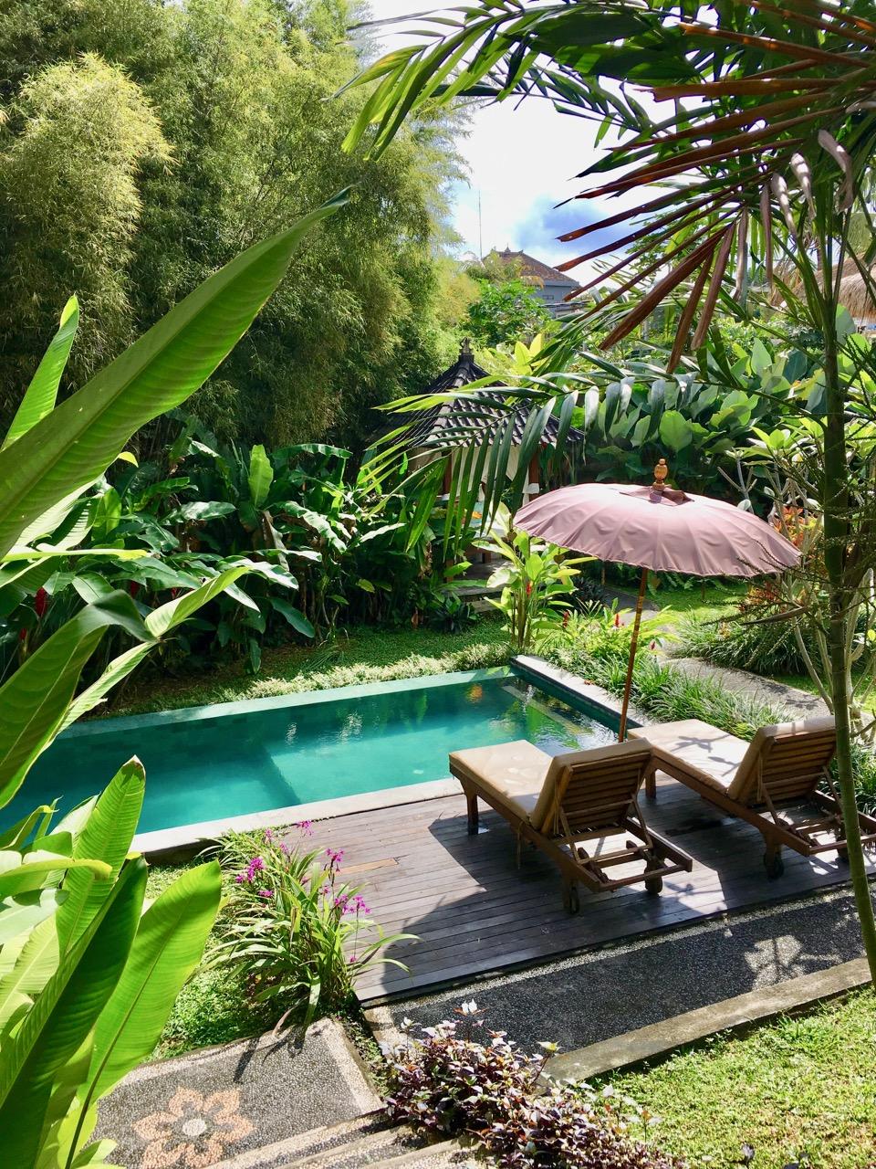Hier am Pool in Ubud, Bali lässt es sich doch gut faulenzen....