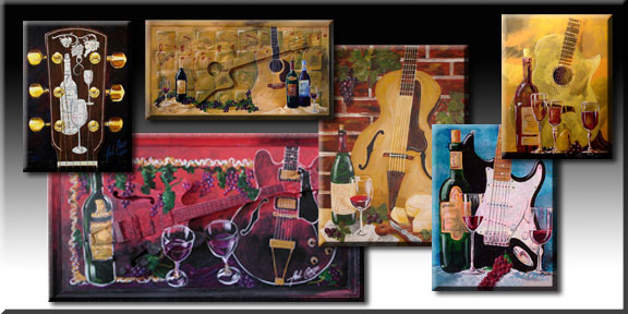 VineYardGuitars combine the romance of music and fine wine, the guitar and art. Many of the originals have actual guitars embedded in the panel and then are painted over for a fresh, vibrant 3 dimensional exhibit. CLICK HERE