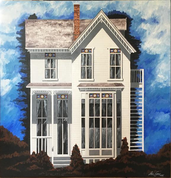 """SiennaShrubsWhite"" - 48x48"" - acrylic on canvas - $2500"