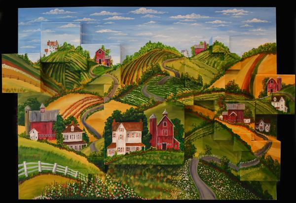 """RollingHillsFarm"" - 30x40"" - 16 canvas's - acrylic - in private collection"