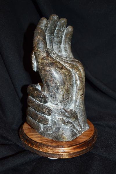 "stone embrace - Oregon soapstone - 15"" - in private collection"