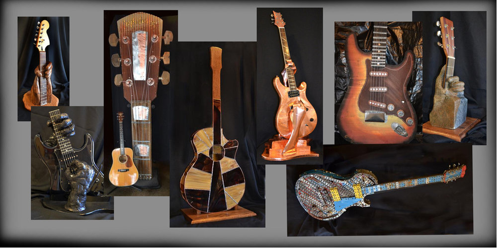 "GuitarSculptures by artist Paul Chase reveal his passion for the guitar. The collection appeared for a 6 month Guitar Sculpture Show in Nashville. Constructed and created with metal, glass, wood, clay, concrete and are 10"" to 10'! CLICK HERE"