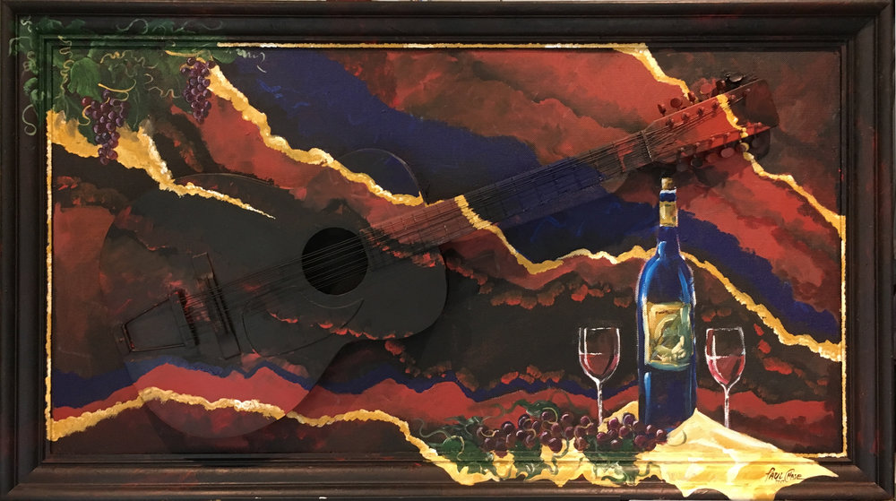 """TwelveStringMerlot"" - 24x48"" - Acrylic on panel with actual guitar. - $800"