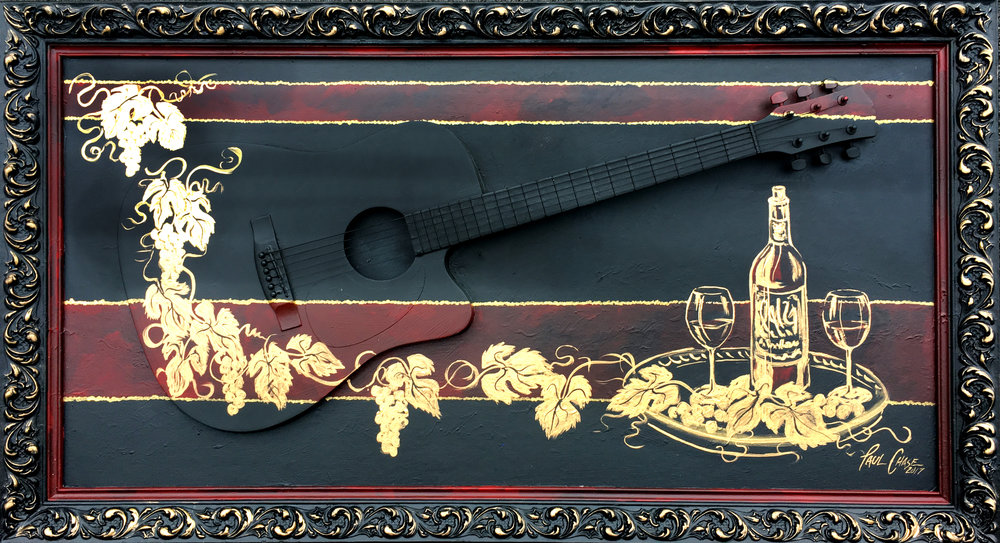"""VineyardGuitarGold"" - 24x48"" - Acrylic and enamel on panel with actual guitar - $800"