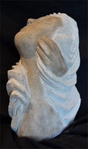 """StoneWavesTouch"" - 20"" - Limestone - in private collection"