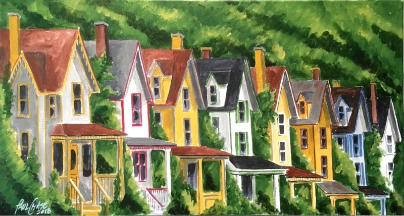 """""""Down the Street"""" - 16x30"""" acrylic on canvas - $400"""
