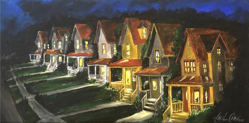 """""""Up the Ave Eve"""" - 16x30"""" - acrylic on canvas - $400"""