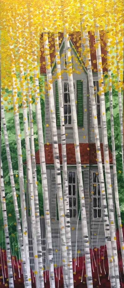 """BirchGroveFall"" - 18x48"" acrylic on canvas - $600"