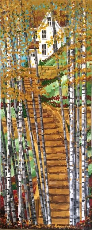 """""""BirchGroveSteps"""" - 36x18"""" - acrylic on canvas - $300"""