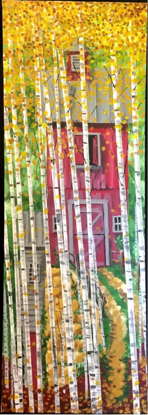 """""""BirchGroveBarn"""" - 14x40"""" - Acrylic on canvas - in private collection"""