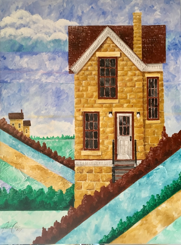 """""""StoneHouseHills"""" - 24x48"""" acrylic on canvas - in private collection"""