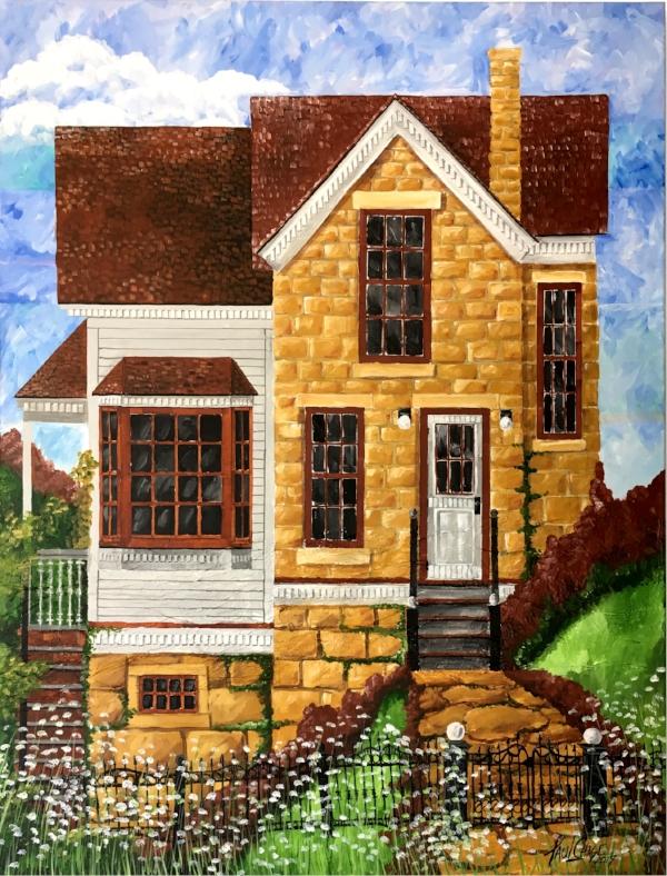 """""""StoneHouseAddition"""" - 48x50"""" - Acrylic on Canvas - $1000"""