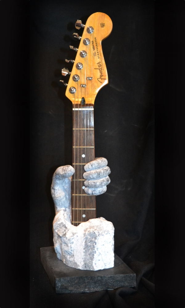 """FenderGripPlayer"" - Arizona Marble - soapstone base - in private collection"