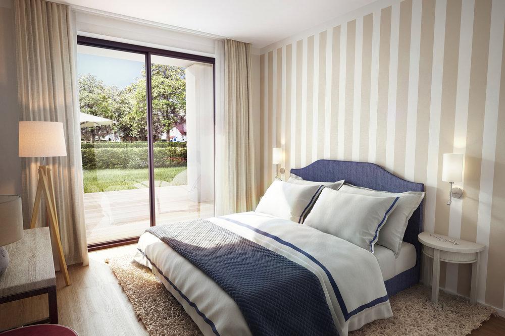 Schlafzimmer, Gestreifte Tapete, Gestreifte Wand, Appartments An Der Ostsee