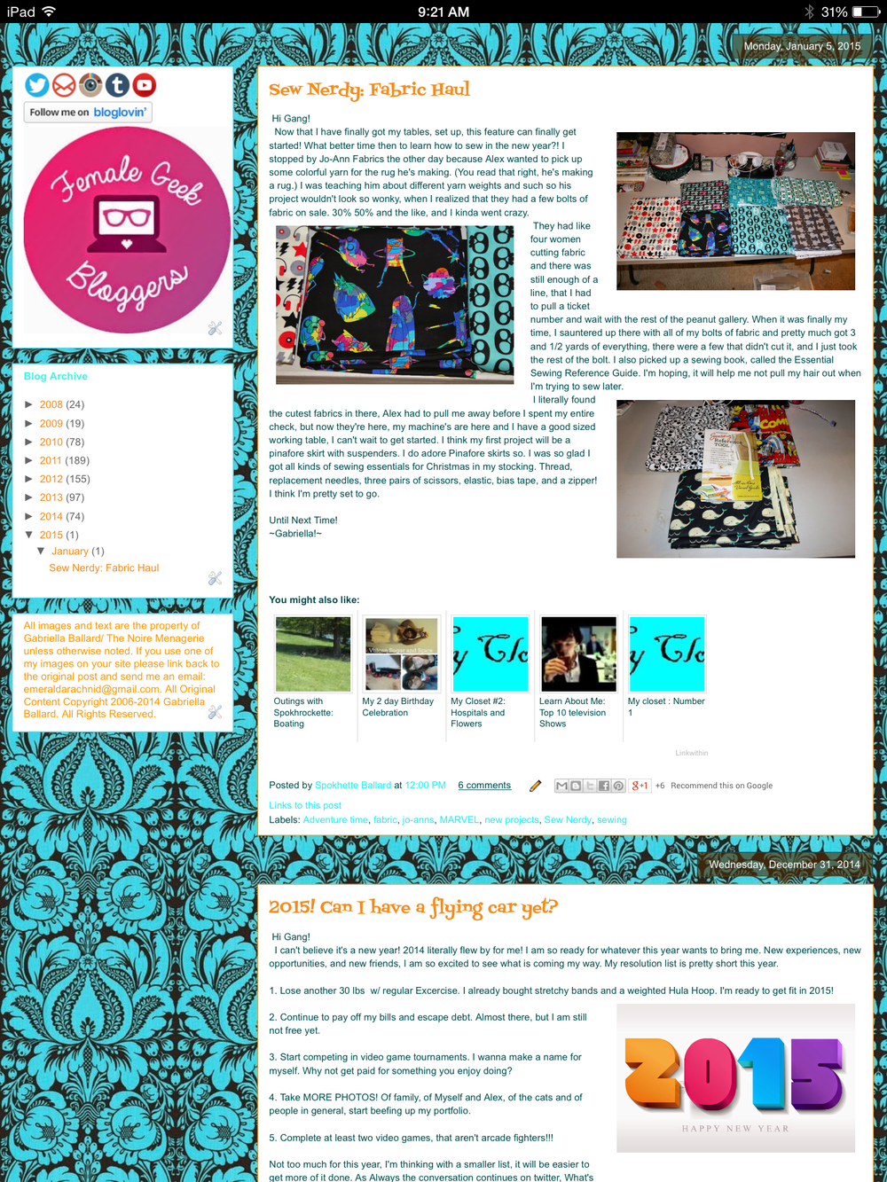 One of the oldest screen captures I have of my blog.