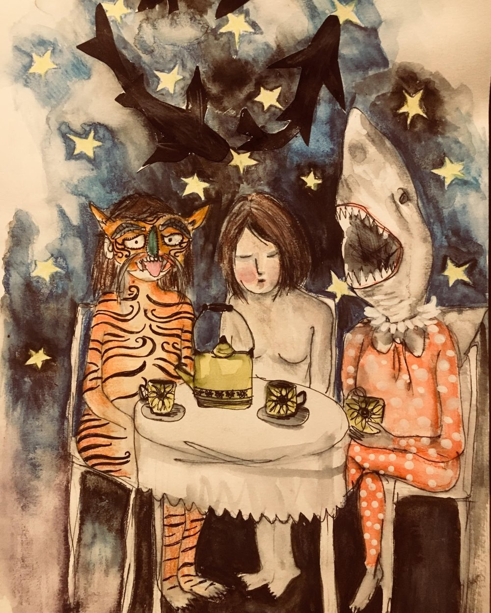 Tiger, Shark and Me Sit Down for Tea by Emma Haddow   'I've struggled with anxiety and depression since I was a teenager. There have been times when it has crippled me, and I was afraid of everything. I started to face my fears, my demons head on and I still do. It's scary in the dark but what's more scary to me is denying and suppressing what lurks beneath the surface. My mental health is good these days. My dark days are still here, but I no longer turn them away.'  Photograph: Emma Haddow/the Perspective Project