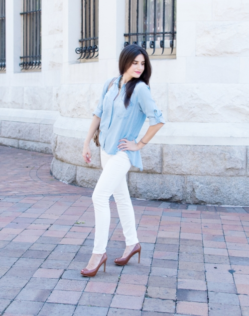 chambray and white jeans