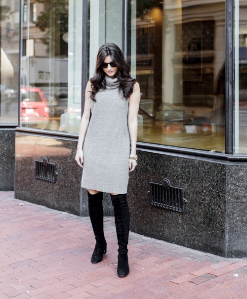 black knee high boots and dress