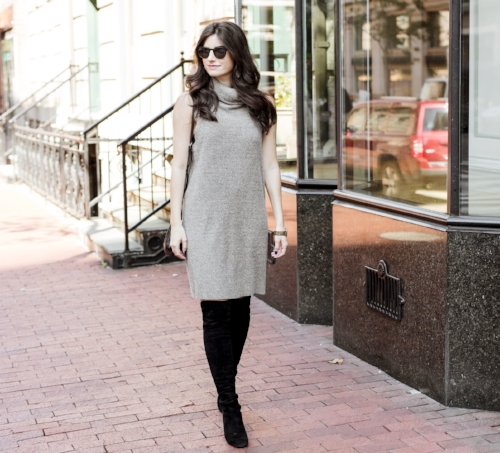 sunglasses and sweater dress