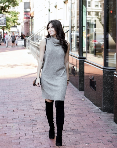 black boots with tan sweater dress