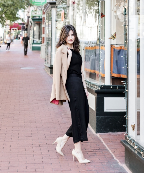black culottes and top