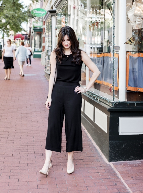 black culotte outfit for work
