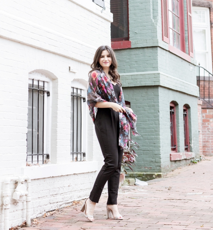 black jumpsuit with pretty scarf outfit