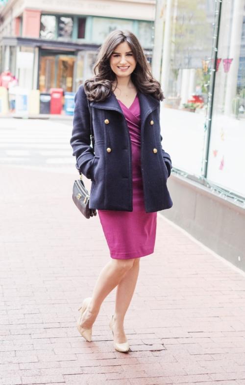 Navy Jacket and Purple Dress